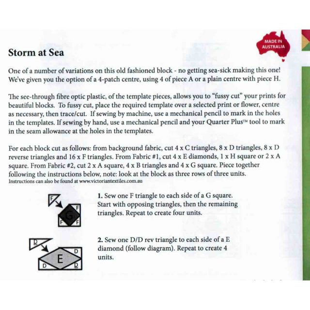 Matilda's Own Storm at Sea Patchwork Template Set by Matilda's Own Quilt Blocks - OzQuilts