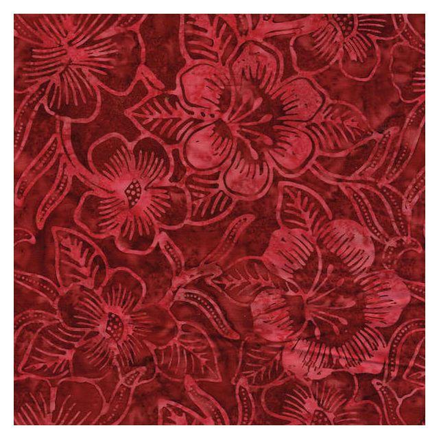 Benartex Red Costa Luna Floral Batik by Benartex - Batik
