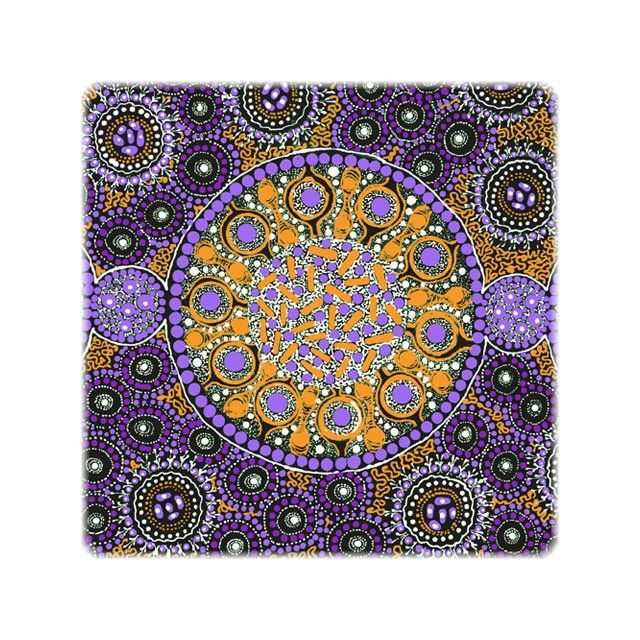 Fresh Life After Rain Purple Australian Aboriginal Art Fabric by Christine Doolan by M & S Textiles Cut from the Bolt - OzQuilts