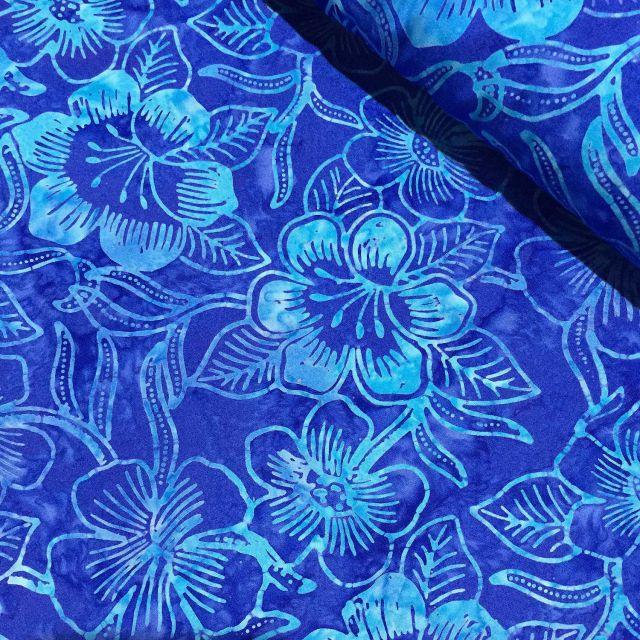 Benartex Costa Luna Blue Floral Batik by Benartex Batik - OzQuilts