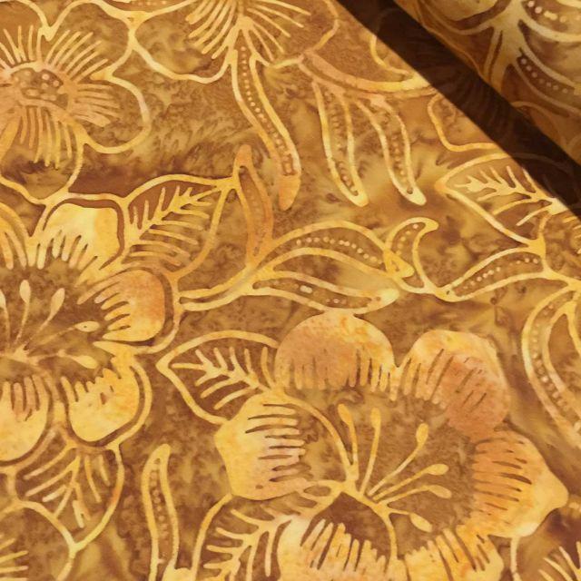 Benartex Costa Luna Gold Floral Batik by Benartex Batik - OzQuilts