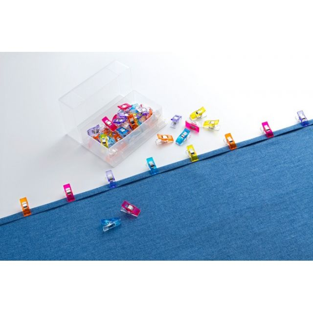 Clover Wonder Clips - 50 Assorted Colours in a Storage Box