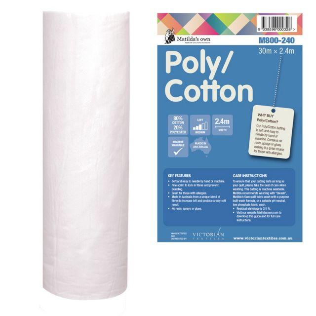 Matildas Own 80% Cotton 20% Polyester Batting 30 metres x 2.4 metres by Matilda's Own Bulk Rolls of Batting - OzQuilts
