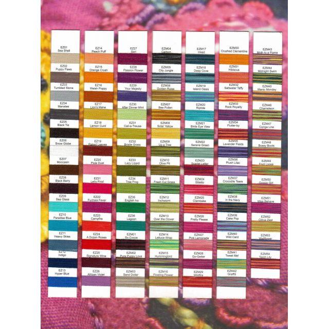 Wonderfil Sue Spargo Eleganza Thread Colour Chart by Wonderfil  Thread Colour Charts - OzQuilts