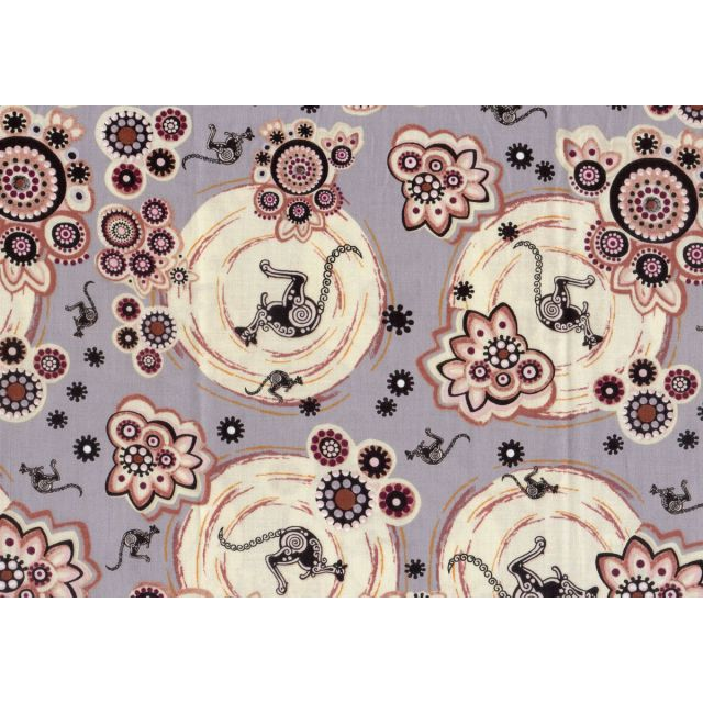 Kangaroo 2 in Ash Australian Aboriginal Art Fabric by Samantha James by M & S Textiles Cut from the Bolt - OzQuilts