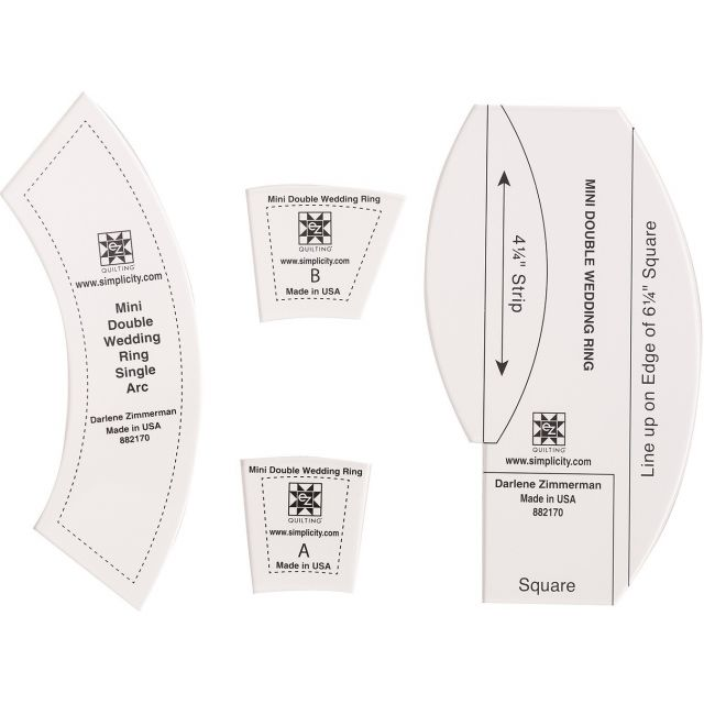 Ez Quilting Mini Double Wedding Ring Template Set By Ez