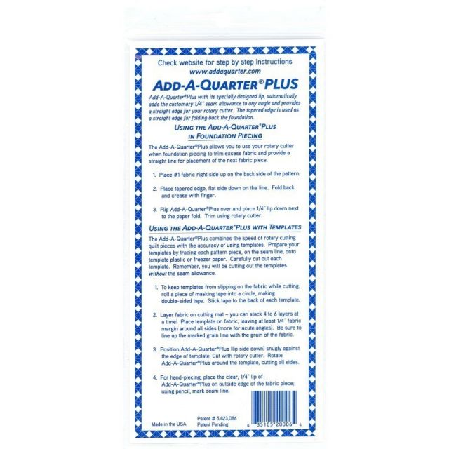 Add-A-Quarter Plus (2 inch x 6 inch) Yellow by CM Designs Add A Quarter Rulers - OzQuilts