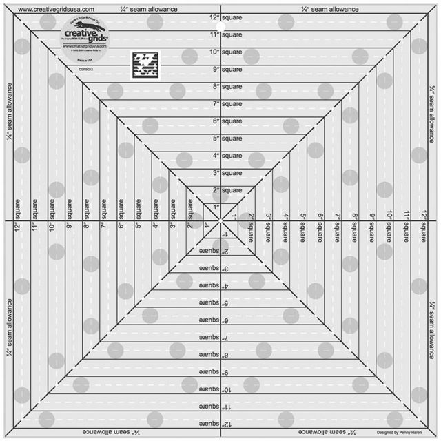 """Creative Grids 12.5"""" Square It Up Or Fussy Cut by Creative Grids Square It Up Rulers - OzQuilts"""