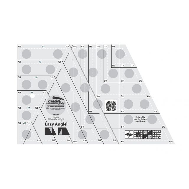 "Creative Grids Lazy Angle Ruler 6.5"" x 10.5"" by Creative Grids Specialty Rulers - OzQuilts"