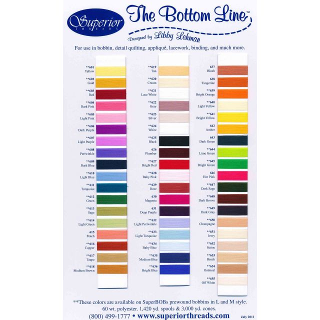 The Bottom Line Colour Card by Superior Bottom Line Thread Thread Colour Charts - OzQuilts