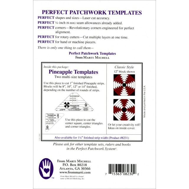 """Marti Michell 1"""" Pineapple Patchwork Template Set by Marti Michell Quilt Blocks - OzQuilts"""