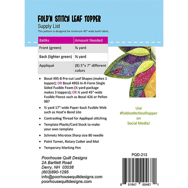 Fold'n Stitch Leaf Topper by PoorHouse Quilt Designs - Table Toppers, Tuffets & Runners