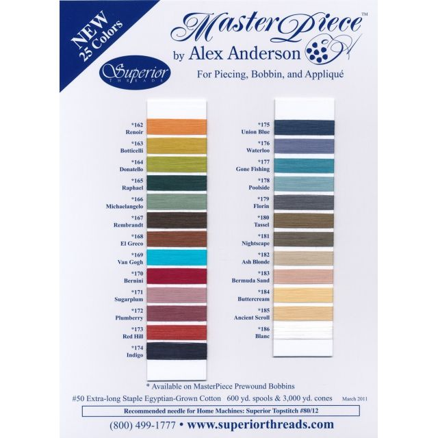 MasterPiece Cotton Thread 600 yds -140 French Blue by Superior Masterpiece Thread Masterpiece Cotton Thread - OzQuilts