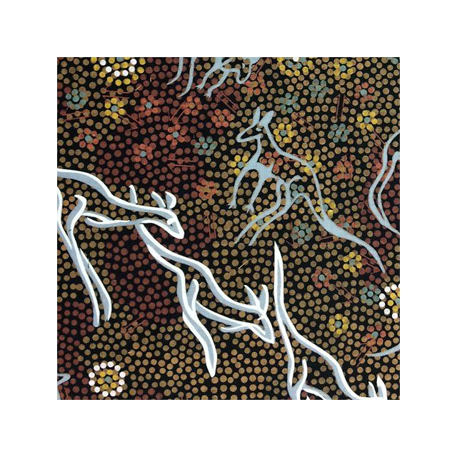 Kangaroo Dreaming in Black Australian Aboriginal Art Fabric by G Waitairie by M & S Textiles - Cut from the Bolt
