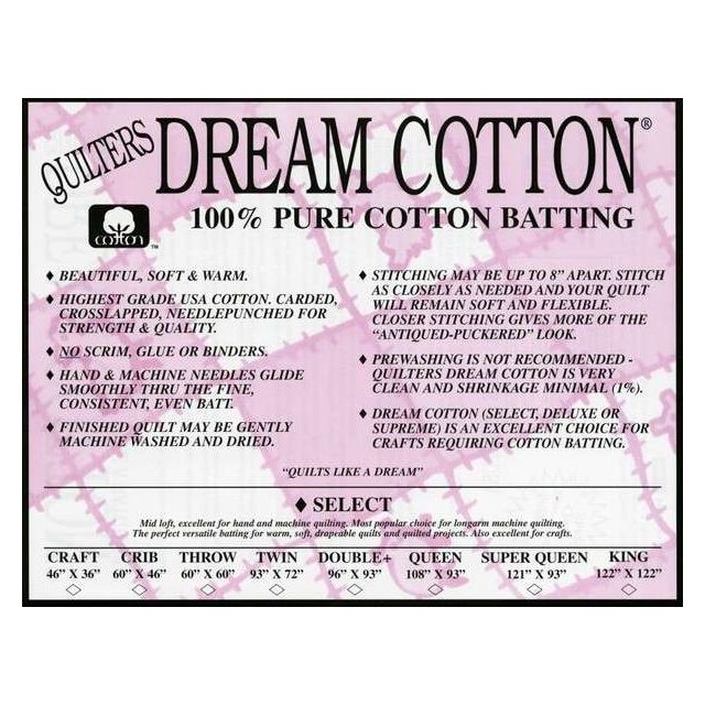 """Quilters Dream Select 100% Cotton Batting, King Size 122"""" x 122"""" by Quilter's Dream Batting Pre-Cut Batts - OzQuilts"""