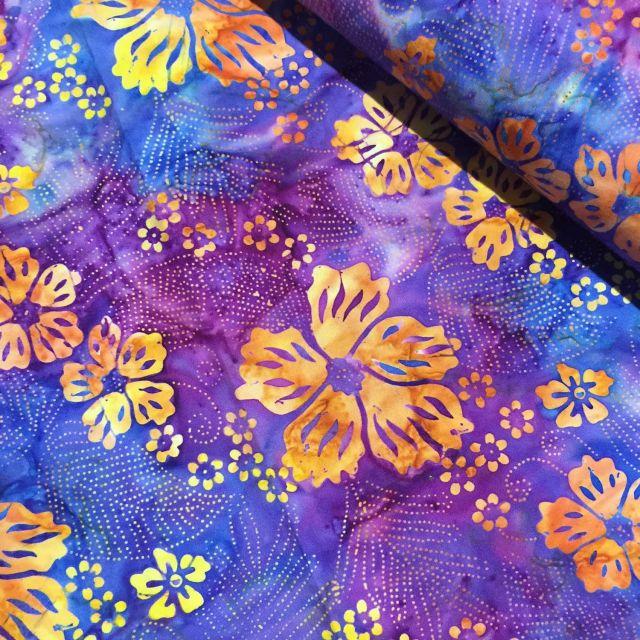 Benartex Mai-Tae Bali Batik: Plum/Orange Tropic Flowers by Island batik Bali Batik - OzQuilts