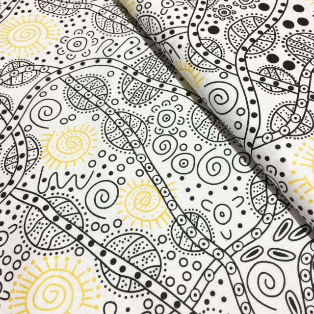 Bush Tucker in White Australian Aboriginal Art Fabric by June Smith by M & S Textiles Cut from the Bolt - OzQuilts