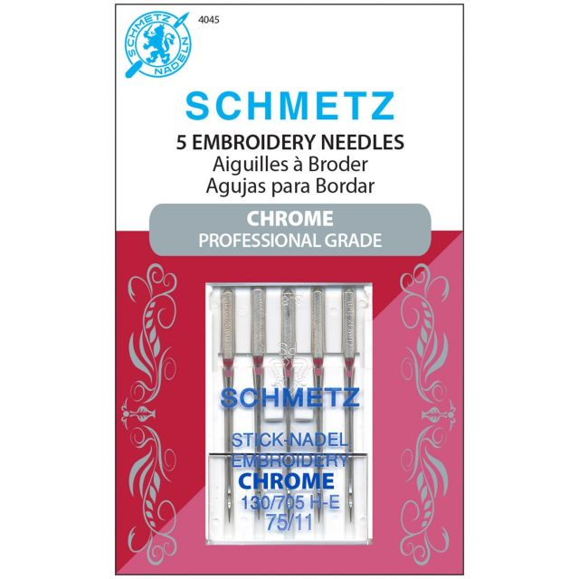 Schmetz Chrome Embroidery Needle  Size 75/11 by Schmetz Sewing Machines Needles - OzQuilts