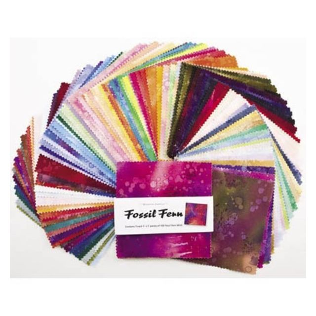 """Fossil Fern Charm Pack 100  5 inch Squares by Benartex 5"""" Squares - OzQuilts"""