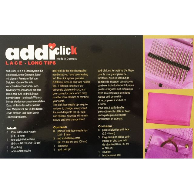 Addi Click Lace Long tip Knitting Needle Set by Addi Knitting Needles - OzQuilts