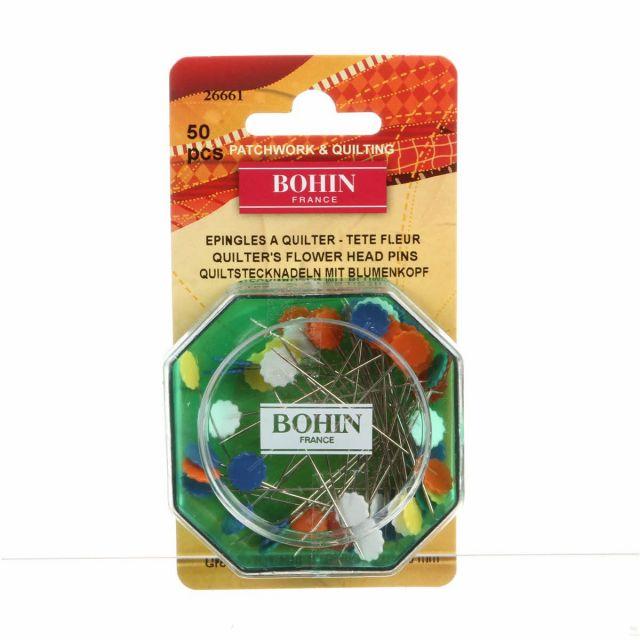 Bohin Flower Head Pins, 2 inch 50 pins by Bohin Flower & Heart Flat Head Pins - OzQuilts