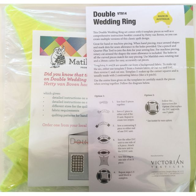 Matilda's Own Double Wedding Ring Patchwork Template Set and Booklet by Matilda's Own Quilt Blocks - OzQuilts