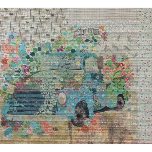 Old Blue Vintage Truck Collage Pattern by Fibreworks Inc Collage  - OzQuilts