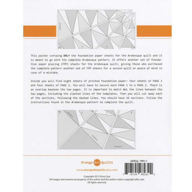 Arabesque Paper Piecing Foundation Papers Only by Orange Dot Quilts Patterns & Foundation Papers - OzQuilts