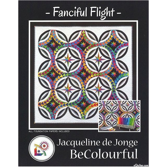 Fanciful Flight Pattern & Foundation Papers by Jacqueline de Jongue by BeColourful Quilts by Jacqueline de Jongue - Patterns & Foundation Papers