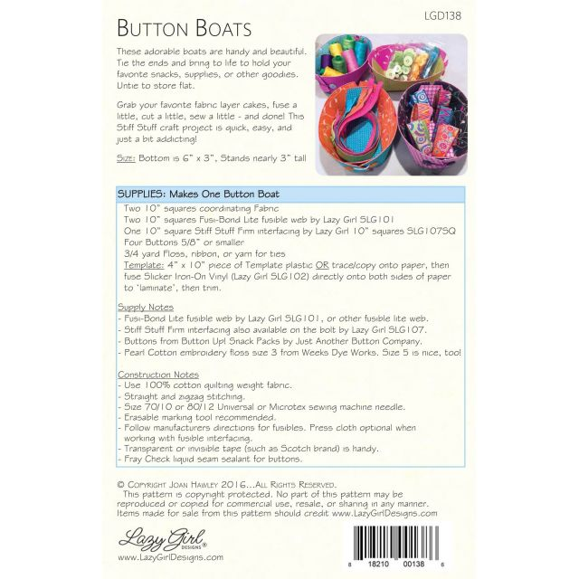 Button Boats Pattern by Lazy Girl Designs by Lazy Girl Designs Bag Patterns - OzQuilts