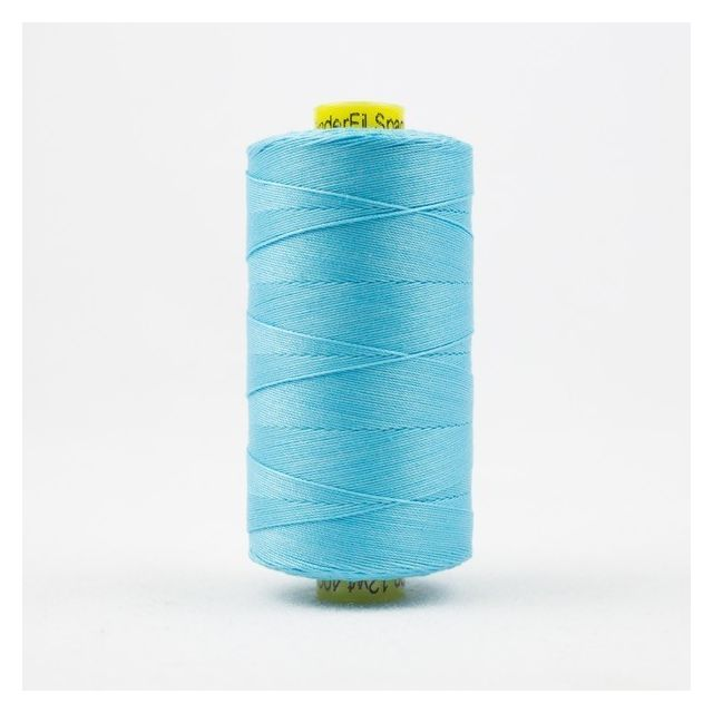 Wonderfil Spagetti 12wt cotton 400 metres, Bright Aqua (SP45) Thread by Wonderfil  Spagetti 12wt Cotton Solids - OzQuilts