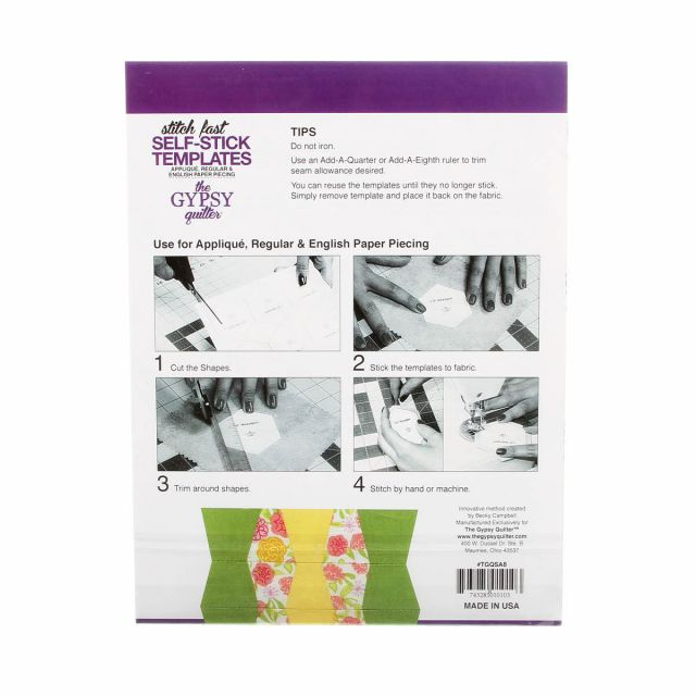 Stitch Fast Self-Stick Template 1 in Tumbler by The Gypsy Quilter Clearance - OzQuilts