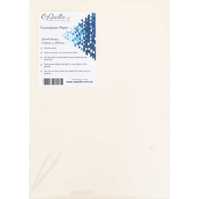 Foundation Paper Piecing Paper, 50 Sheets A4 Size 210mm x 297mm by OzQuilts Foundation Papers - OzQuilts