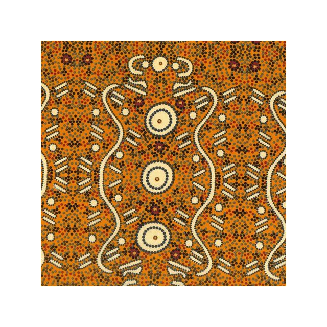 Water Dreaming in Yellow Australian Aboriginal Art Fabric by Audrey Napanangka by M & S Textiles Cut from the Bolt - OzQuilts