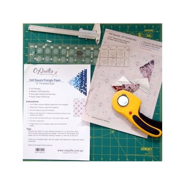 """Half Square Triangle Paper, 3/4"""" Finished Size by OzQuilts Pre-printed Triangle Papers - OzQuilts"""