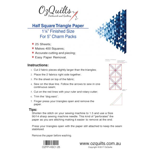 "Half Square Triangle Paper, 1 1/4"" Finished Size for 5"" charms by OzQuilts Pre-printed Triangle Papers - OzQuilts"