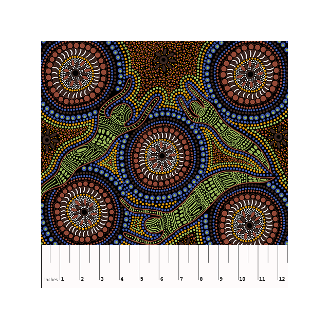 Winter Spirits Brown Australian Aboriginal Art Fabric by Faye Oliver by M & S Textiles Cut from the Bolt - OzQuilts