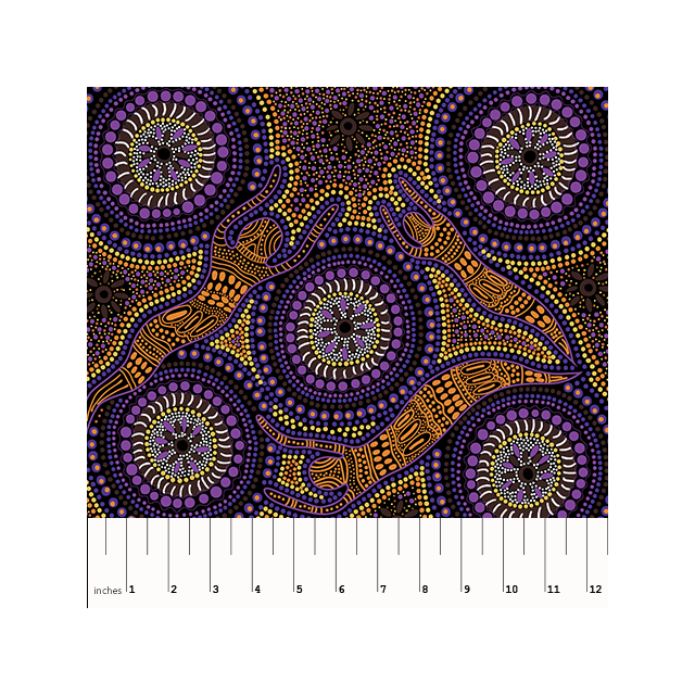 Winter Spirits Purple Australian Aboriginal Art Fabric by Faye Oliver by M & S Textiles Cut from the Bolt - OzQuilts
