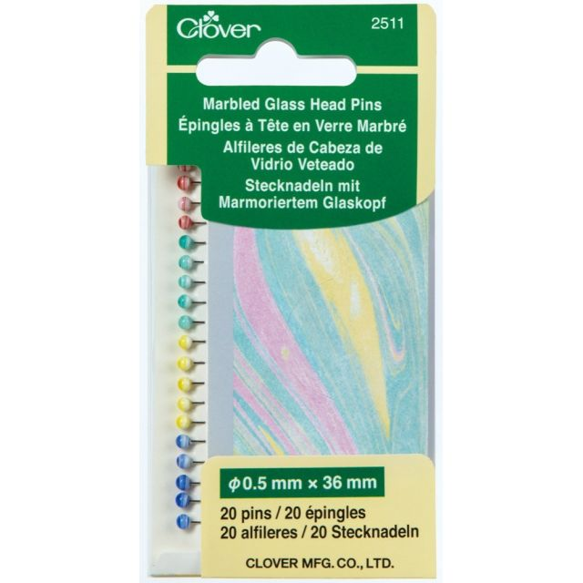 Clover Marbled Glass Head Pins by Clover Patchwork & Quilting Pins - OzQuilts