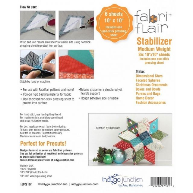 "Fabriflair Medium Weight Stabiliser - 10"" Squares by Indygo Junction Stabiliser & Interfacing - OzQuilts"