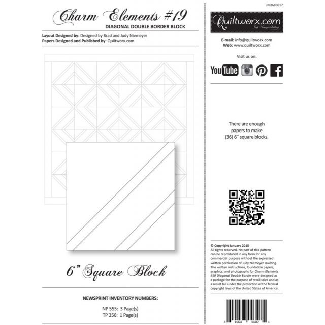 Quiltworx Pre-printed Foundation Paper Pack -Charm Elements 19 by Quiltworx Judy Niemeyer Quiltworx - OzQuilts
