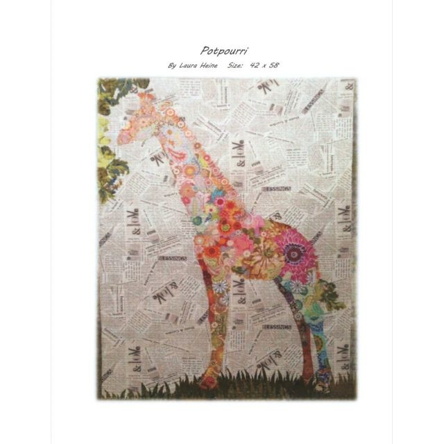 Potpourrie Giraffe Collage Pattern by Fiberworks Collage  - OzQuilts