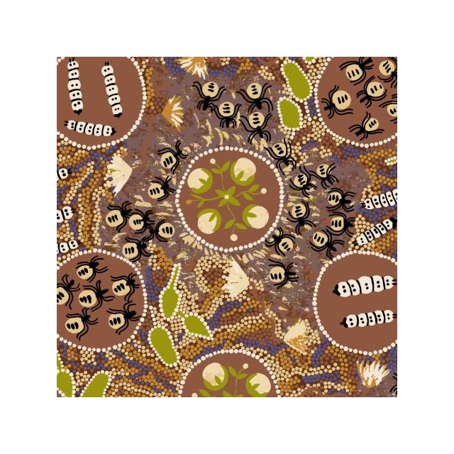 Witchety Grub in Brown Australian Aboriginal Art Fabric by Audrey Martin Napanangka by M & S Textiles Cut from the Bolt - OzQuilts