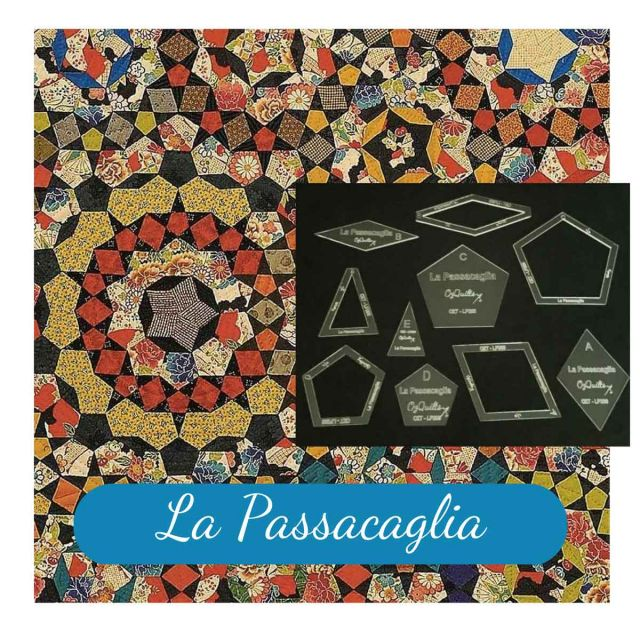 "La Passacaglia Halo Template Set from Millefiori Quilts - 2"" Size by  EPP Templates - OzQuilts"