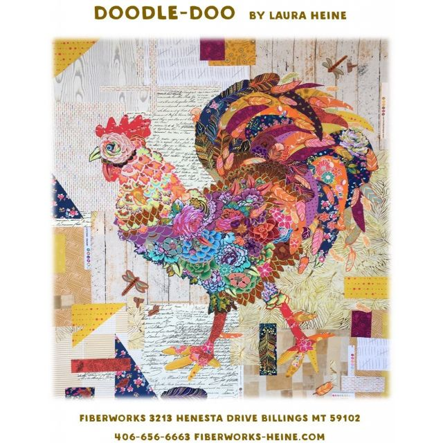 Doodle Doo Rooster Collage Pattern by Fibreworks by Fibreworks Inc Collage  - OzQuilts