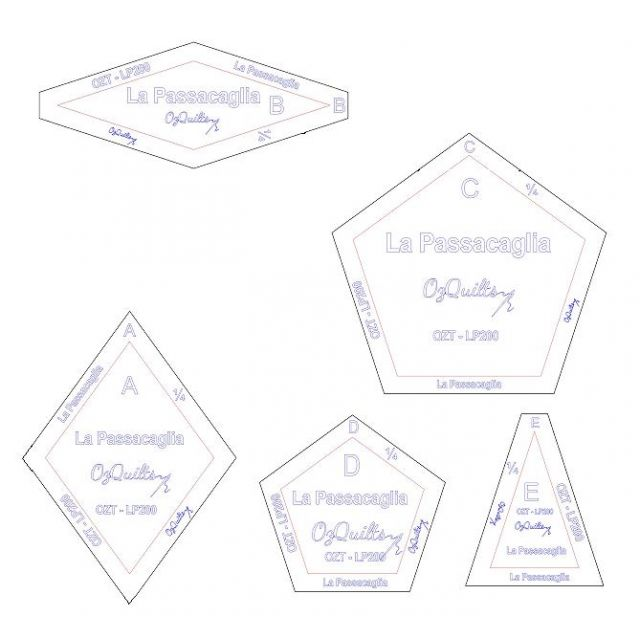 "La Passacaglia Template Set from Millefiori Quilts - Traditional Set in 2"" Size by OzQuilts EPP Templates - OzQuilts"