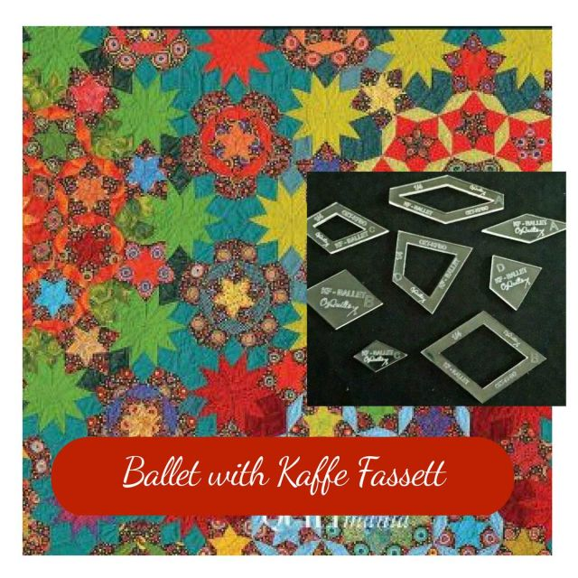"Ballet with Kaffe Fassett Halo Template Set from Millefiori Quilts 2 - Original Size 1.25"" by OzQuilts Millefiori Book 2 - OzQuilts"