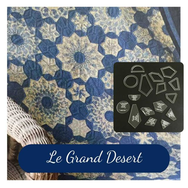 Le Grand Desert Template Set from Millefiori Quilts 3 - Halo Set in Original Size by OzQuilts Millefiori Book 1  - OzQuilts