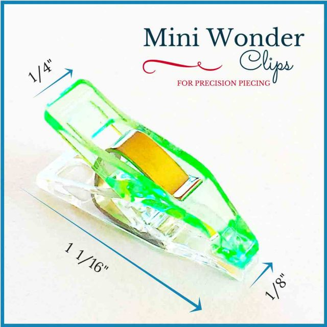 """Mini Quilter's Wonder Clips with 1/8"""" nose - 25 Green Mini Clips by  Wonder Clips & Hem Clips - OzQuilts"""