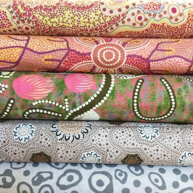 Aboriginal Art Fabric 5 Fat Quarter Bundle - Ash Pink by M & S Textiles Fat Quarter Packs - OzQuilts